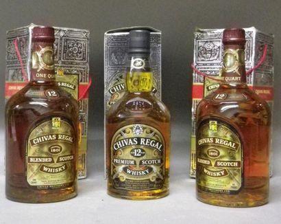 3 BOUTEILLES WHISKY CHIVAS REGAL 12 ANS D'AGE,...