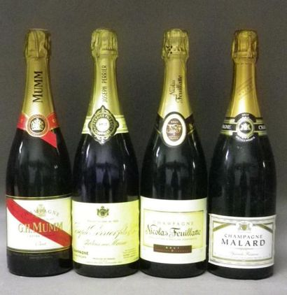 4 BOUTEILLES CHAMPAGNES: MUM, N. FEUILLATE,...