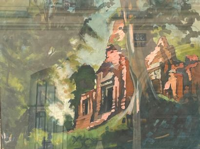 Louis ROLLET (1895-1988)  Le temple d'Angkor...