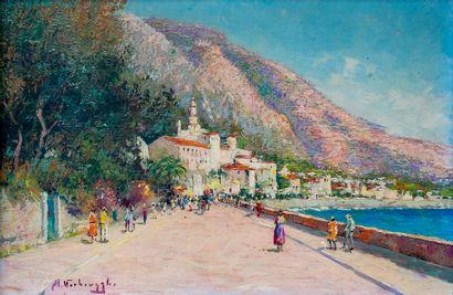 Charles Henri VERBRUGGHE (1877-1974)  Promenade...