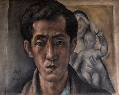 Toshio BANDO (1895-1993)  Autoportrait  Huile...