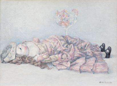 Toschio BANDO (1895-1973)  La poupée  Huile...