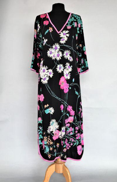 LEONARD Robe en jersey noir imprimé de fleurs...