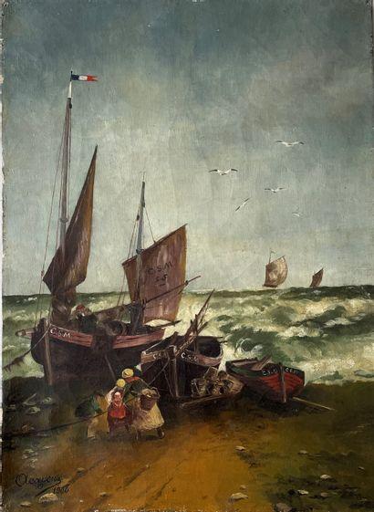 A.CAYEUX (XIX°) Retour de pêche huile sur...