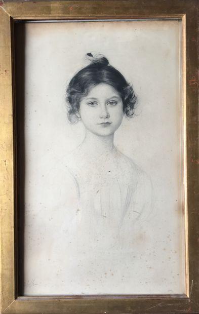 PAUL CESAR HELLEU Portrait de jeune fille....