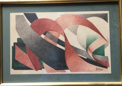 STEIGE (XXème) 3 compositions aquarelle et...