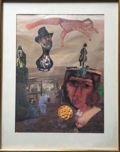 Frida WION (Ecole XX°) Deux collages encadrés...