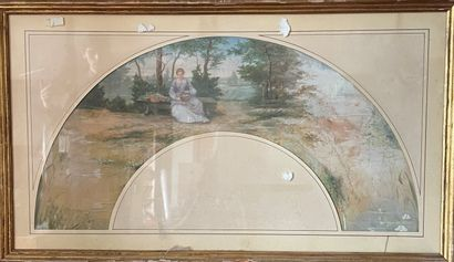 Projet d'éventail aquarelle. 14cm X 56cm...