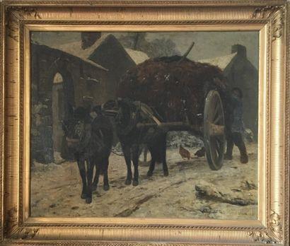 JULES DIDIER 1856 La charrette, huile sur...