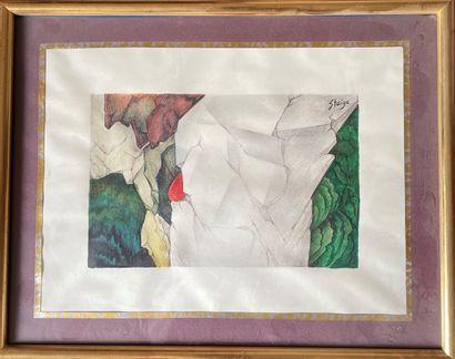 STEIGE (XXème) Composition aquarelle. Signée...