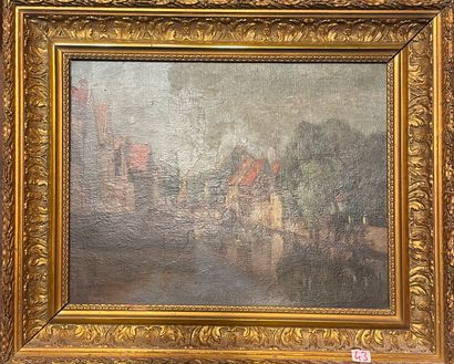 FOLLIG Ecole flamande vue d'un canal, Huile...