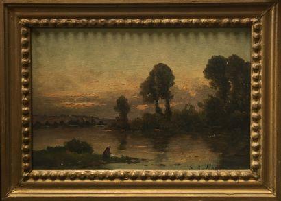 M.GUILLAUMET Femme assise près d'un étang,...