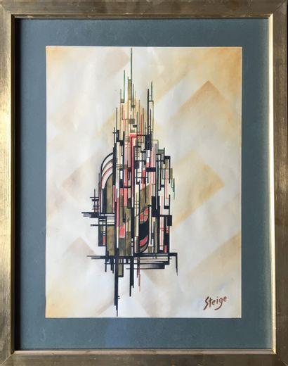 STEIGE (XXème) Composition aquarelle et encre...