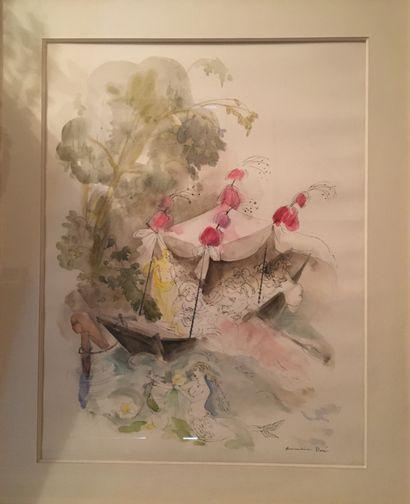 Amandine DORÉ (1912-2011) Bacchanale, aquarelle...