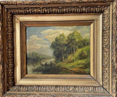 GERMAIN COLLIN 1856 les bords de l'Oise près...
