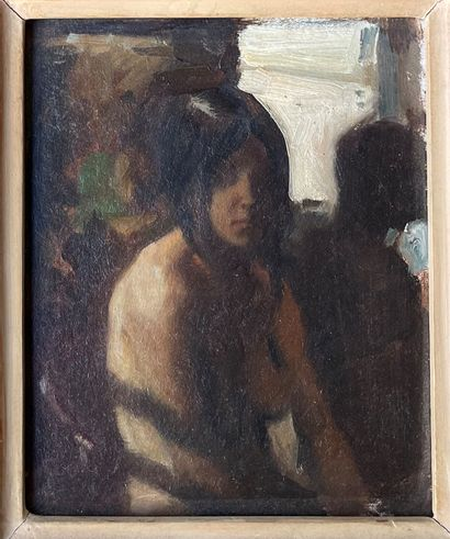 KEN MORONEY (né en 1949) Nu au miroir huile...
