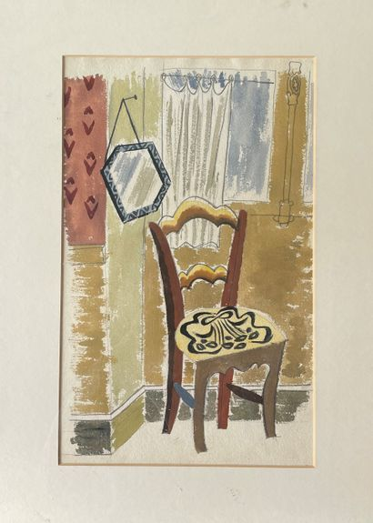 EDWIN OLDFIELD (1907-1992) Intérieur avec...