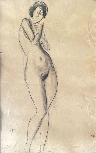 WATEL (Ecole XX°) Nu féminin dessin au crayon...