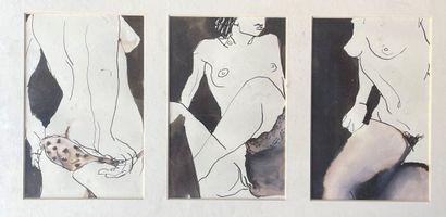 SALLY ANN BUTLER (XX°) 3 Nus dessins à l'encre...