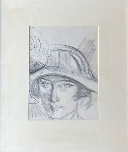 ELSIE ANDERSON (1880-1967) La dame au chapeau...