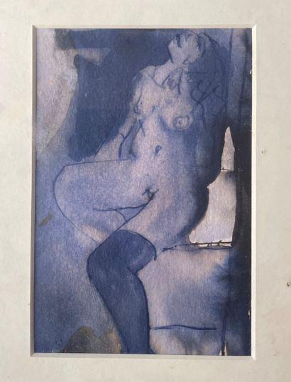 ANNE BUTLER ( 1858-1941) Femme en bleu aquarelle...
