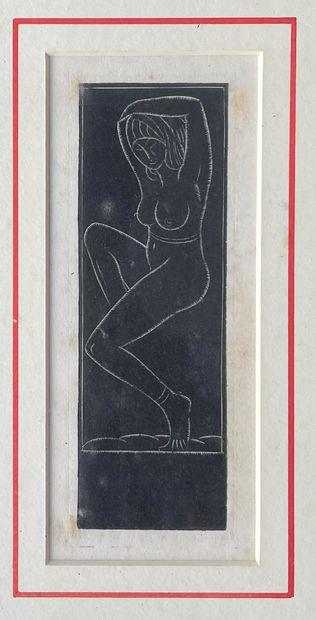 ERIC GILL (1882-1940) Nu les bras levés gravure...