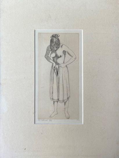 JOHN BUCKLAND-WRIGHT (1897-1954) Femme enfilant...