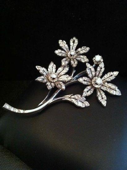Broche Rameau de fleurs en platine et or...