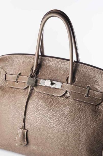 HERMES Paris Made in France Sac Birkin en cuir togo étoupe- Longueur: 35cm (petite...
