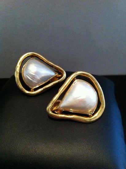 Paire de clips d'oreilles Triangle en or...