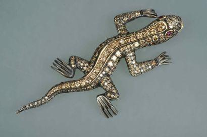 Epingle Salamandre en argent et or 14k entièrement...