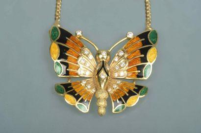 Collier Papillon en or émaillé jaune, vert...