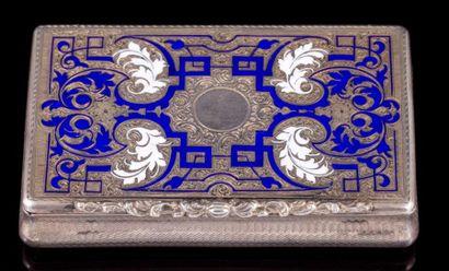 Boite rectangulaire en argent émaillé bleu...