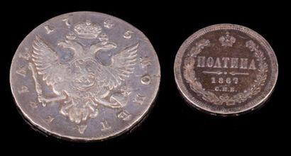 Deux Roubles en argent (1745 et 1867) - Poids:...