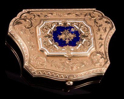 Porte monnaie polylobé en or et émail bleu,...
