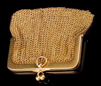 Bourse porte monnaie en or- Longueur: 6,5cm...