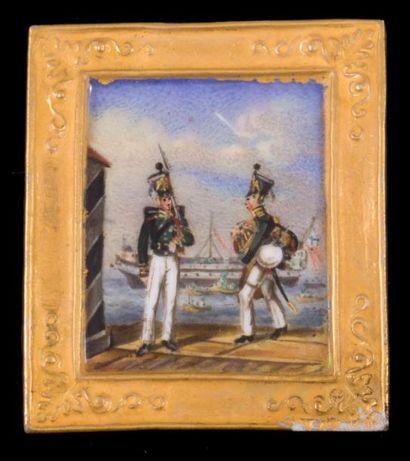 Miniature sur porcelaine figurant deux soldats...
