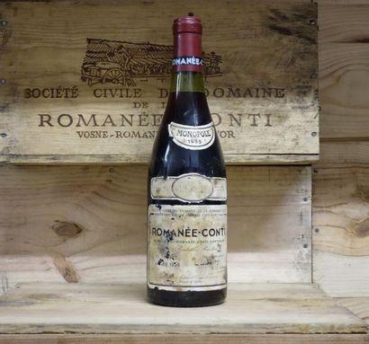 1 Bouteille LA ROMANEE CONTI 1985 Étiquette tachée et légèrement abimée. Label stained,...