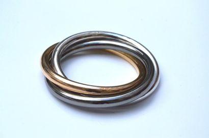 Bracelet trois joncs croisés en argent de...