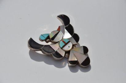 Broche ZUNI en Argent et turquoise, corail...
