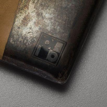 Paul - Emile BRANDT (1883-1952)  Etui à cartes rectangulaire en argent et argent...