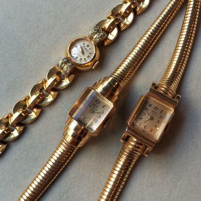 A.D.S 2 bracelets montres de dame en or 750...