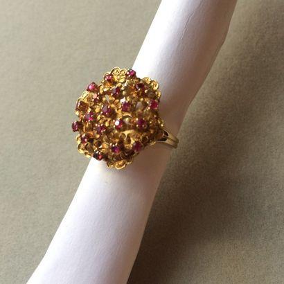 Bague fleur en or 750 millièmes et pierres...