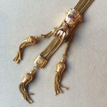 Long collier à 3 rangs en or 375 millièmes...