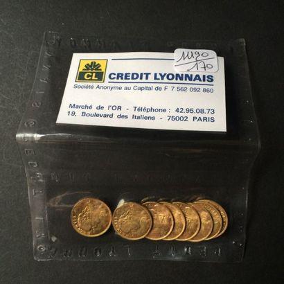 SUISSE. 8 pièces de 20 Francs 1935 x 6, 1947...