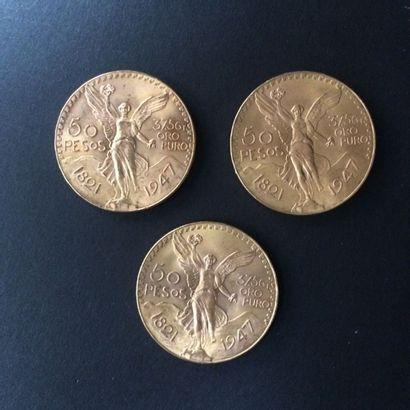 MEXIQUE. 3 pièces de 50 Pesos (1821-1947)....