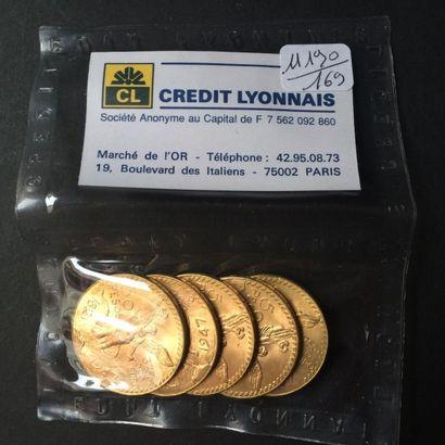 MEXIQUE. 5 pièces de 50 Pesos (1821-1947)....