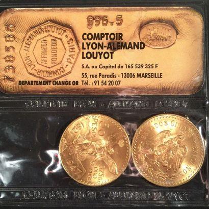 MEXIQUE. 2 pièces de 50 Pesos (1821-1947)....