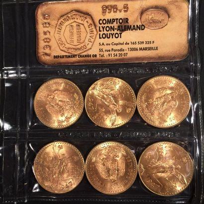 MEXIQUE. 6 pièces de 50 Pesos (1821-1947)....
