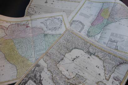 CARTES ANCIENNES  Lot de 4 cartes XVIIIème...